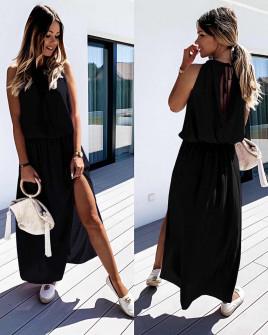 Μακρύ χαλαρό φόρεμα 5171 μαύρο