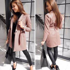Γυναικείο παλτό με ζώνη και φόδρα 20501 πούδρα