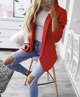 Γυναικείο κομψό σακάκι με φόδρα 3229 κόκκινο