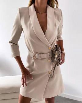 Γυναικείο κομψό φόρεμα με ζώνη 3846 μπεζ