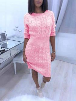 Γυναικείο πλεκτό φόρεμα 1028 ροζ