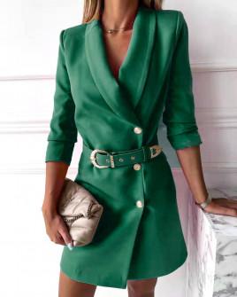 Γυναικείο κομψό φόρεμα με ζώνη 3846 πράσινο