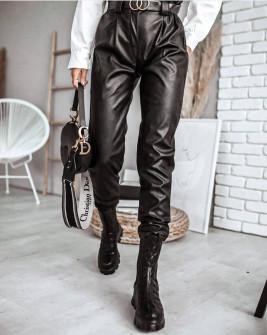 Γυναικείο δερμάτινο παντελόνι με ζώνη p151 μαύρο