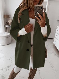 Γυναικείο παλτό με 7/8 μανίκι και φόδρα 3809 χακί