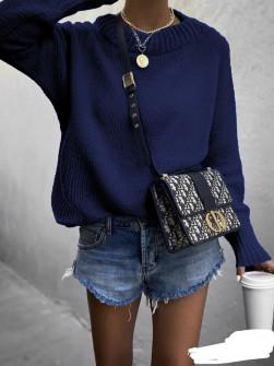 Γυναικείο πουλόβερ 00701 σκούρο μπλε