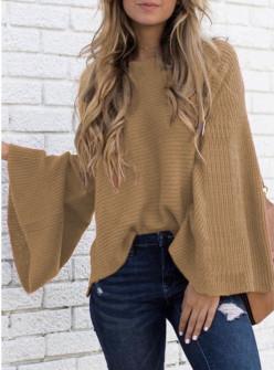 Γυναικείο πουλόβερ με φαρδύ μανίκι 2532 καμηλό