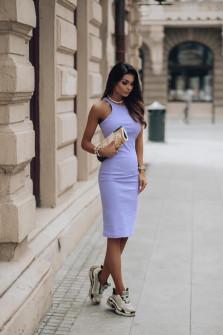 Γυναικείο εφαρμοστό φόρεμα 13621 μωβ