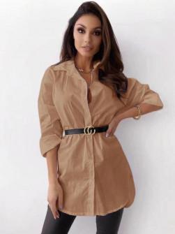 Γυναικείο πουκάμισο με ζώνη 5481 καμηλό