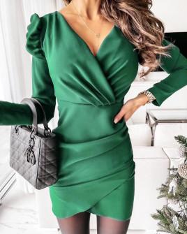 Γυναικείο φόρεμα με φουσκωτό μανίκι 8043 πράσινο