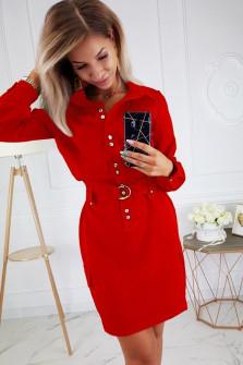Γυναικείο φόρεμα με κουμπιά και ζώνη 3893 κόκκινο