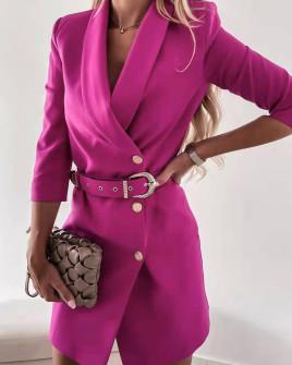 Γυναικείο κομψό φόρεμα με ζώνη 3846 φούξια