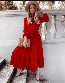 Γυναικείο μακρύ φόρεμα με κουμπιά 5337 κόκκινο