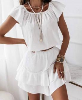 Γυναικείο φόρεμα με ζώνη 5736 άσπρο