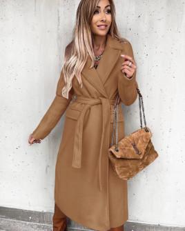 Γυναικείο μακρύ παλτό με ζώνη και φόδρα 6056 καμηλό