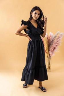 Γυναικείο μακρύ μονόχρωμο φόρεμα 8151 μαύρο