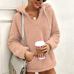 Γυναικείο γούνινο φούτερ 2587 ροζ