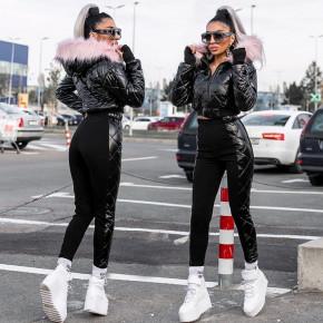 Γυναικείο σετ μπουφάν με κουκούλα και παντελόνι 1790 μαύρο
