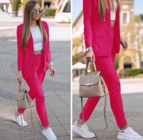 Γυναικείο σετ σακάκι και παντελόνι 5007 φούξια