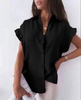 Γυναικείο χαλαρό πουκάμισο 54991 μαύρο