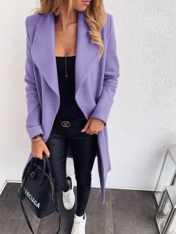 Γυναικείο χαλαρό παλτό με φόδρα 58941 λιλά
