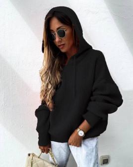Γυναικεία πλεκτή μπλούζα με κουκούλα 00828 μαύρο