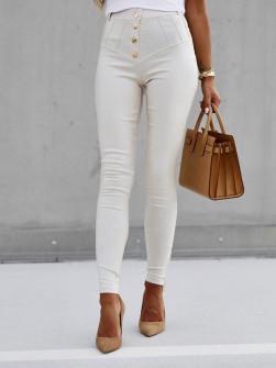 Παντελόνι δερματίνης P063 άσπρο