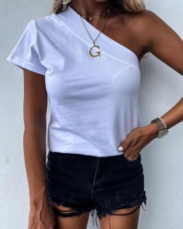 Γυναικεία μπλούζα με ένα μανίκι 5093 άσπρη