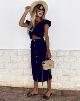 Γυναικείο σετ φούστα και τοπάκι 21227 σκούρο μπλε