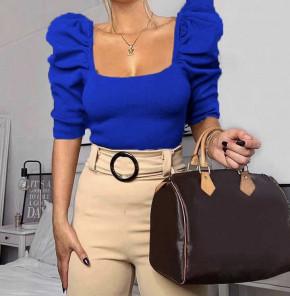 Γυναικεία μπλούζα με φουσκωτό μανίκι 2405 μπλε