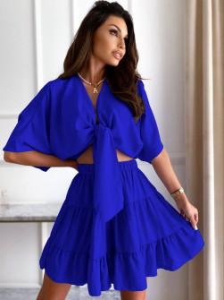 Γυναικείο σετ πουκάμισο και φούστα 14824 μπλε