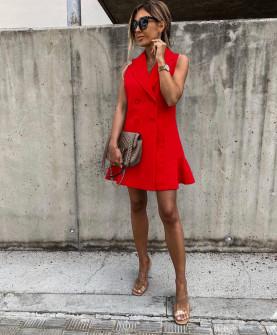 Γυναικείο φόρεμα με κουμπιά από τις δύο πλευρές 5066 κόκκινο