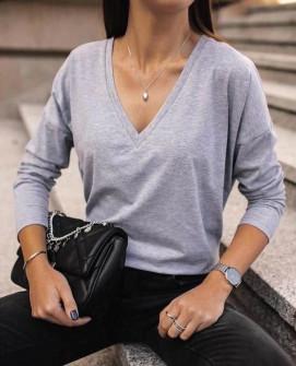 Γυναικεία μπλούζα με βαθύ ντεκολτέ 1930 γκρι