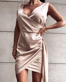 Γυναικείο εφαρμοστό φόρεμα 8237 μπεζ