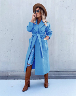 Γυναικείο μακρύ παλτό με φόδρα 5981 γαλάζιο