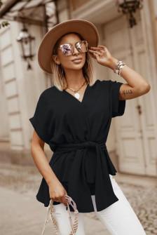 Γυναικεία μπλούζα με δέσιμο στη μέση 5226 μαύρη