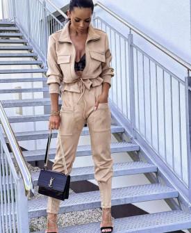 Γυναικείο σετ βελουτέ ζακέτα-παντελόνι 5962 μπεζ