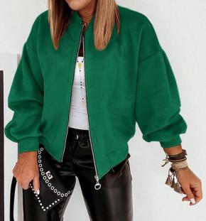 Γυναικείο σουέτ μπουφάν με φερμουάρ 5283 πράσινο