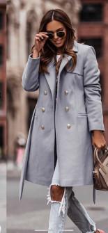 Γυναικείο διπλοκούμπωτο παλτό με φόδρα 6052 γκρι