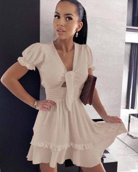 Γυναικείο εντυπωσιακό φόρεμα 5690 μπεζ