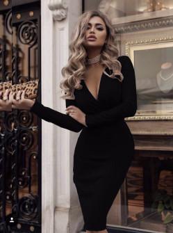 Γυναικείο φόρεμα κρουαζέ 3746 μαύρο