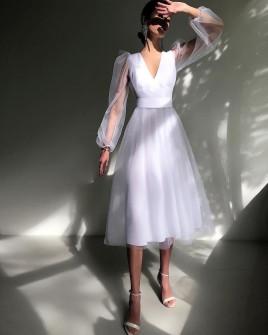 Φόρεμα με τούλι 2698 άσπρο