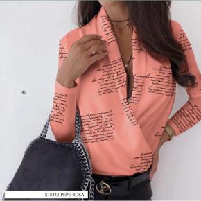 Γυναικεία μπλούζα κρουαζέ 502001 κοραλί