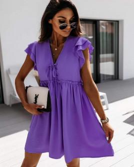 Γυναικείο φόρεμα με κορδόνια 2481 μωβ