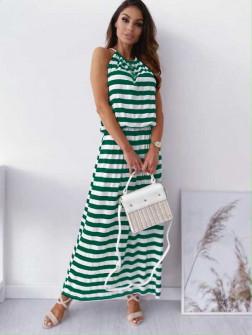 Γυναικείο μακρύ φόρεμα ριγέ 12282 σκούρο πράσινο