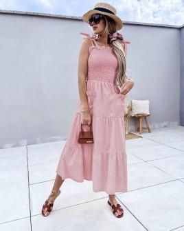 Γυναικείο φόρεμα με τσέπες 5760 ροζ