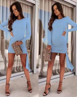 Γυναικείο εφαρμοστό φόρεμα 8058 γαλάζιο