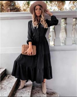 Γυναικείο μακρύ φόρεμα με κουμπιά 5337 μαύρο