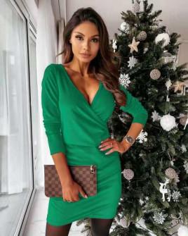 Γυναικείο φόρεμα κρουαζέ 80444 πράσινο