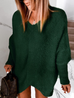 Γυναικείο χνουδωτό μπλουζοφόρεμα 5351 πράσινο
