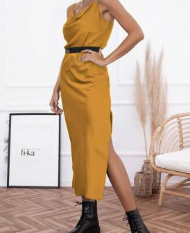 Γυναικείο φόρεμα σατέν 21070 κίτρινο